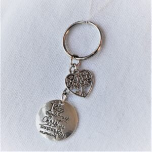 I can do all things keychain with heart tree